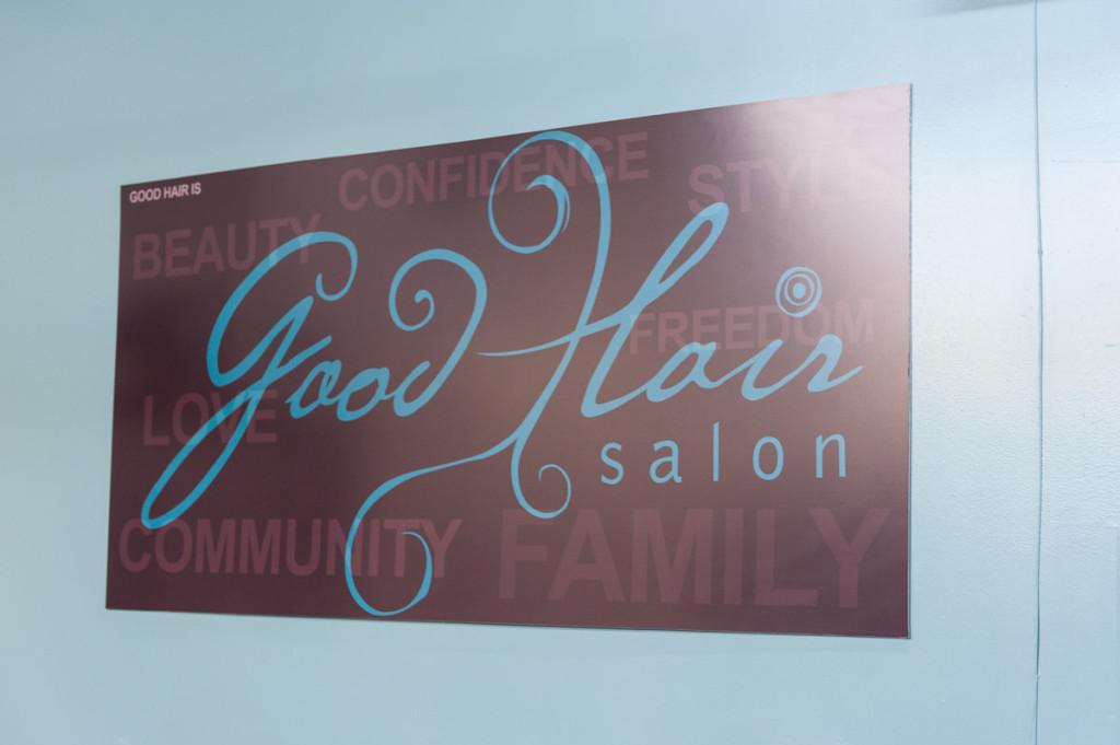 The Good Hair Salon sign